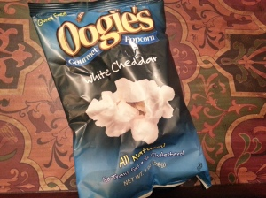 Oogies Gourmet Popcorn White Cheddar 1oz. pictured $15.08 for 5 5oz. bags
